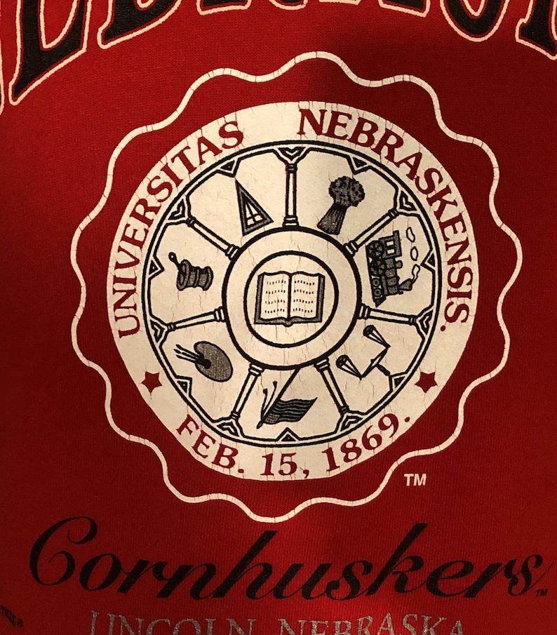 Large vintage college Vintage 90s University of Nebraska Cornhuskers Red Big 12 College Crewneck Sweatshirt vintage football jumper