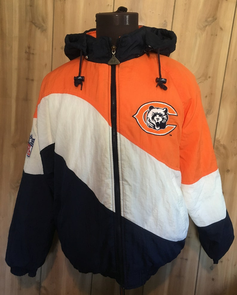 d26aef35 Vintage Chicago Bears 1990s Apex One Pro Line NFL Football Puffy Hooded  Jacket - vintage jacket - nfl jacket - football jacket (Medium)