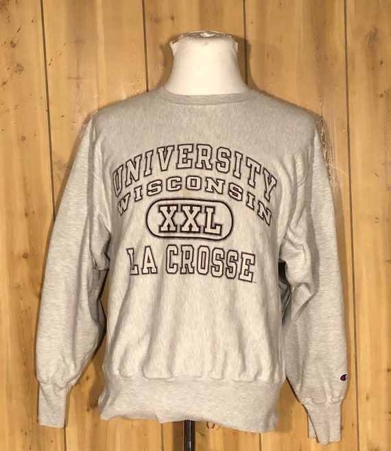 Vintage University of Wisconsin LA Crosse Champion Gray Crewneck Sweatshirt vintage 80s champion sweatshirt (Medium)