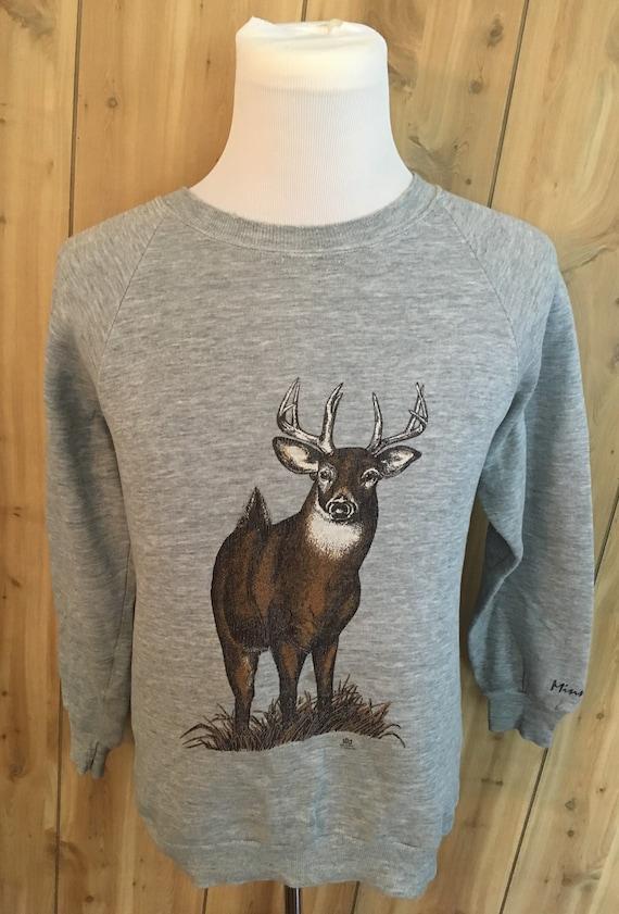 Vintage Deer Wildlife Gray Minnesota 1980s Crewnec