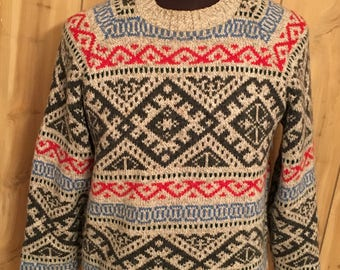 Vintage Fall River Knitting Mills USA Made 1980s Sweater - Holiday Sweater - Winter - Ski Sweater - Skiing - 80s sweater (Medium)