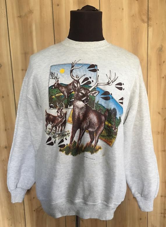 Vintage Deer Animal Print Elk Gray 1980s Wild life