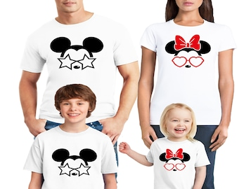 a7b08c85bd6d Disney Family Trip Shirts 2019 Glasses Mickey and Minnie Mouse Design Cotton  Vacation Crew T-Shirts for MEN WOMEN Youth Toddler Mom Dad Kids