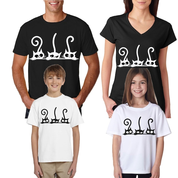 7f477757a554 Cat Lovers Meow Family Match T-Shirts Mom Dad Kids Youth MEN | Etsy