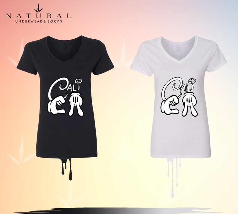 Disney Christmas ShirtsV Neck T-Shirt for WOMEN Mickey Minnie Mouse Disney Cali Design Cotton