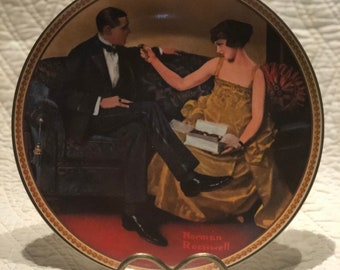 Norman Rockwell Collectible plate: Flirting in the Parlor