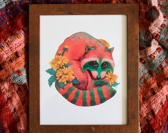 Watermelon Raccoon, Pink and Green, Art Print, Gouache, Illustration, Wall Decor, 8x10