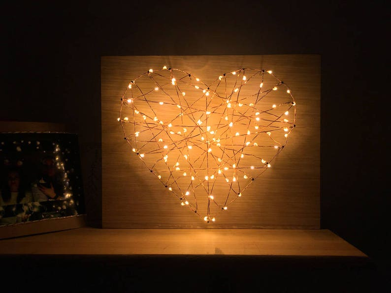 Heart string art fairy lights wall decor sign for bedroom, Perfect  Christmas gift for her for your love mommy, Unique housewarming gift idea