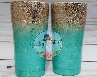 Teal and champagne ombre glitter tumbler