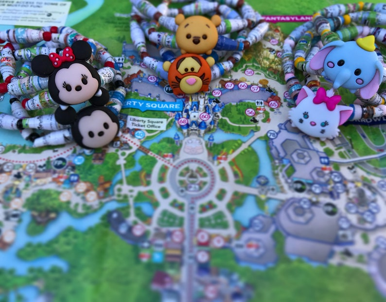 Character celets-Upcycled Disney Maps | Etsy on