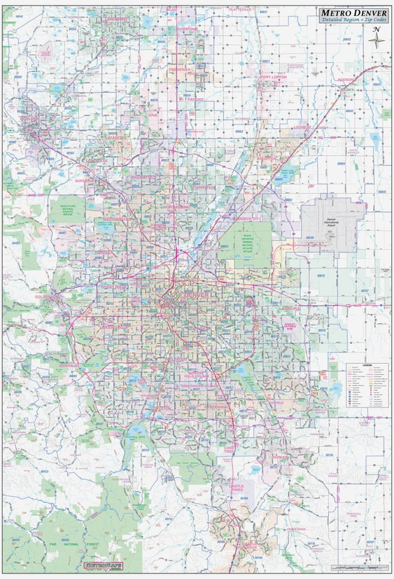 Metro Denver CO Detailed Region Wall Map w/Zip Codes *2 sizes* on highlands ranch map, archuleta county, denver city map, denver international map, san juan county, denver vicinity map, denver-aurora metropolitan statistical area, denver population 2014, montezuma county, denver district 2 map, denver suburbs list, denver light rail map, denver suburbs map, boulder county, alamosa county, denver lrt map, denver co, denver zip code map, colorado map, downtown denver map, denver airports, denver neighborhood map, denver taxi map, denver metroplex map, douglas county map, denver county map, front range urban corridor,