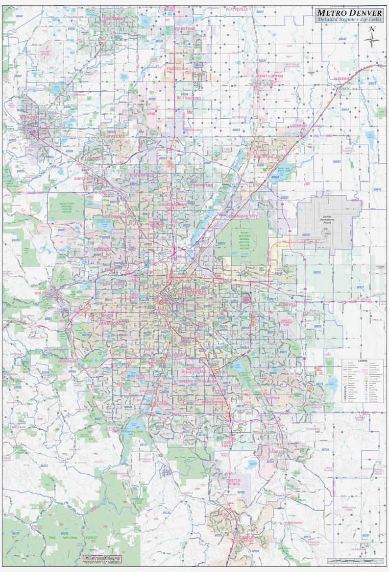 Metro Denver CO Detailed Region Wall Map w/Zip Codes *2 sizes*