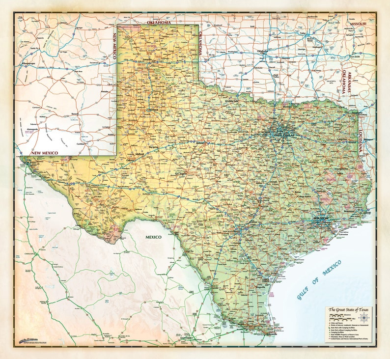 Map Of Texas Cities And Counties.Ivory Antique Style Texas Wall Map