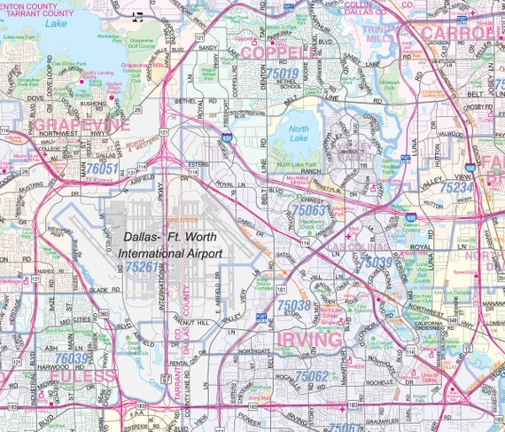 Dallas Ft Worth Metroplex Detailed Region Wall Map Etsy