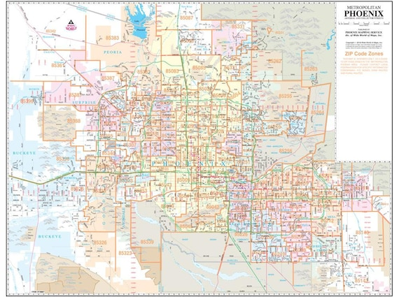 Metropolitan Phoenix Arterial Wall Map with ZIP Codes 2 | Etsy
