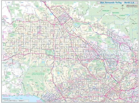 San Fernando Valley North Los Angeles Vicinity Wall Map Etsy