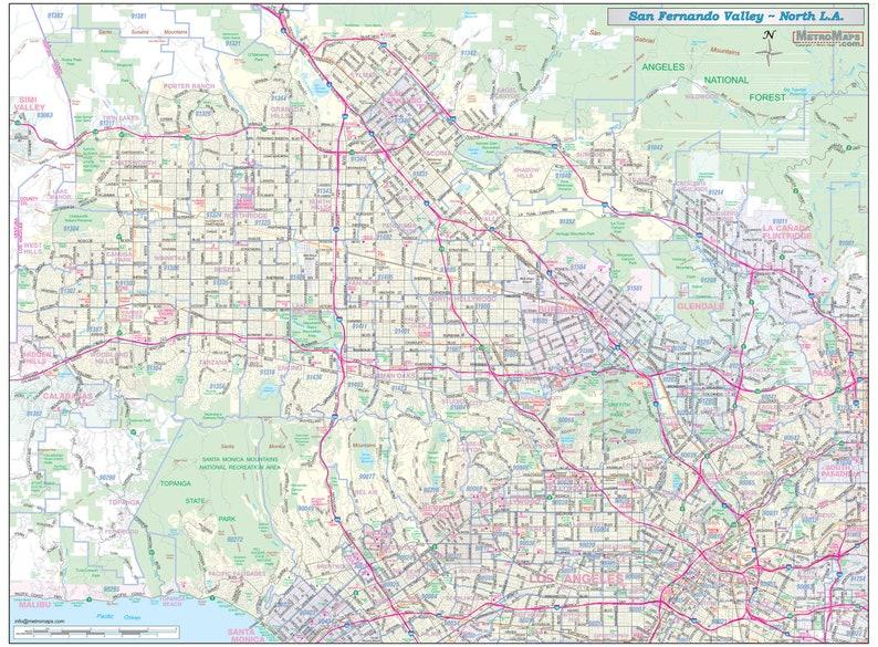 San Fernando Valley-North Los Angeles Vicinity Wall Map (48
