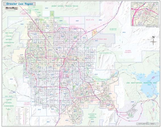 Greater Las Vegas NV Detailed Region Wall Map w/Zip Codes *2 Large on map of tampa florida zip code, map of chicago zip code, map of oceanside california zip code, map of portland oregon zip code, map of orlando florida zip code, map of ohio zip code, map of atlanta zip code, map of phoenix zip code, map of washington dc zip code, map of houston texas zip code,