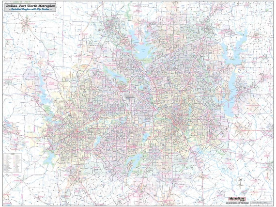 Greater Dallas Map.Dallas Ft Worth Metroplex Detailed Region Wall Map Etsy