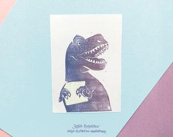 Special Edition Linocut Card T-Rex