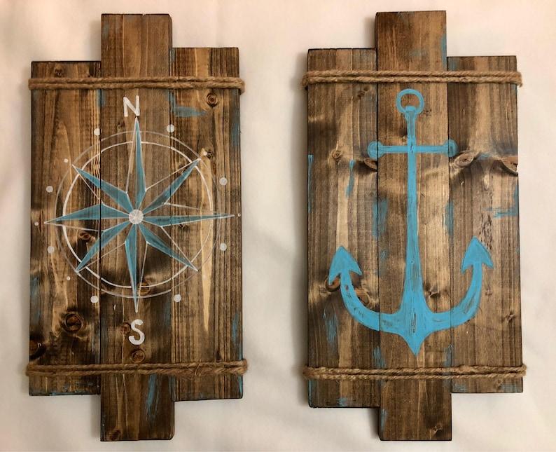 Nautical Wall Decor, Housewarming Gift, Rustic Home Decor, Nautical  Bathroom Decor, Beach Decor, Wall Art, Bathroom Decor
