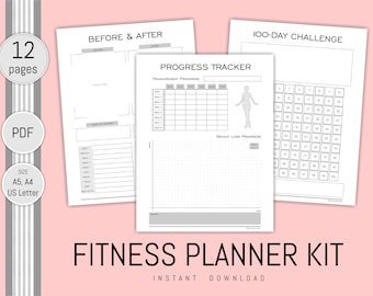 fitness planner printable diet and exercise tracker health etsy