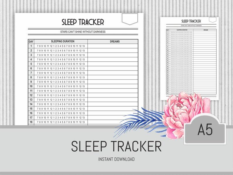 picture regarding Sleep Log Printable called Slumber Tracker Printable A5 Planner Web page Snooze log Rest Monitoring Chart Lifetime Organiser Health and fitness Planner Inserts Wellbeing magazine printable web site