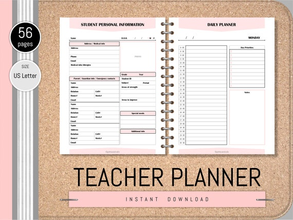 Teacher planner Printable Academic planner 2019-2020 Planner pages Daily  Planner Lesson Plan Assignment tracker Homework planner To do list