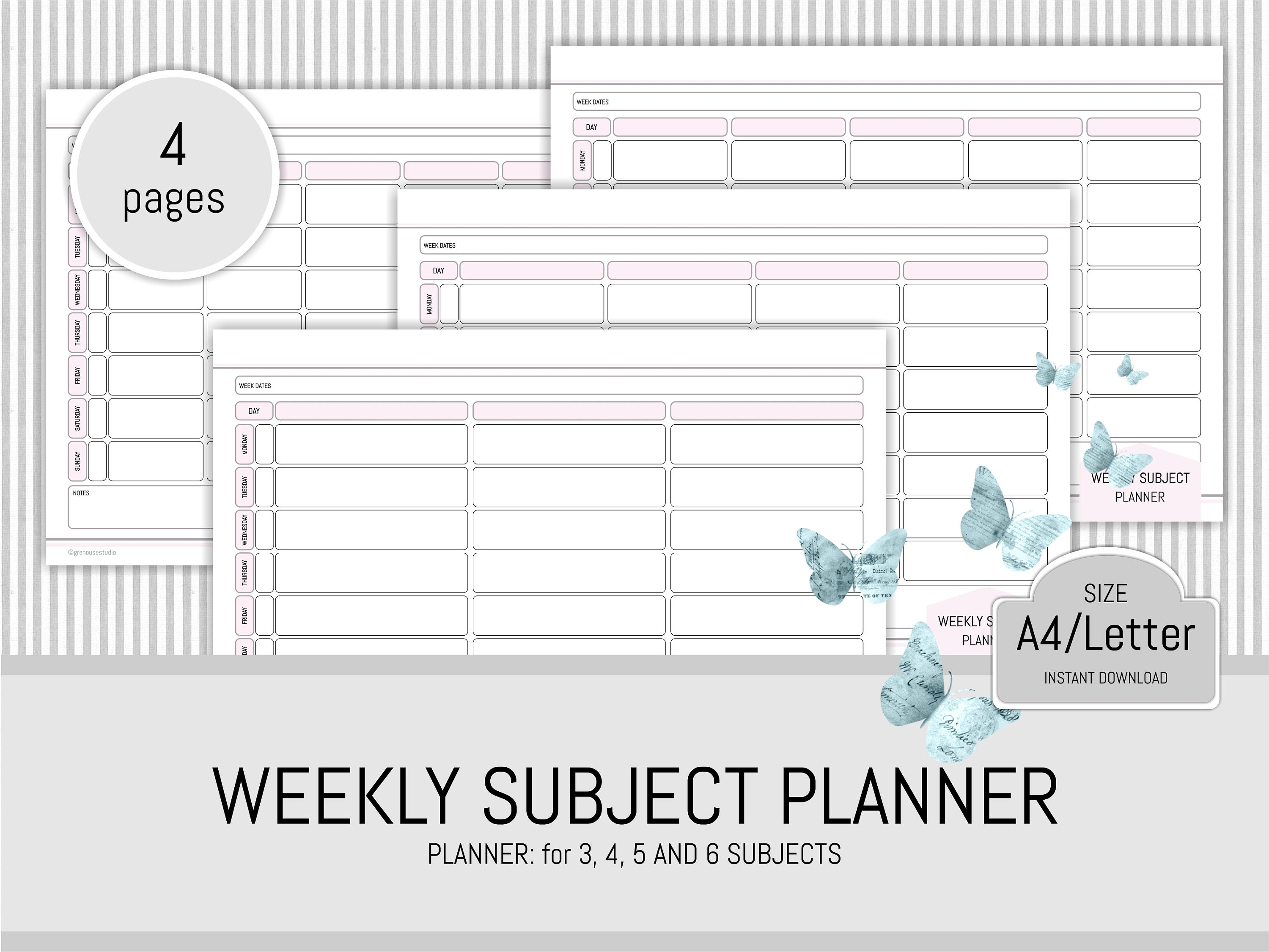 student planner printable subject planner study planner