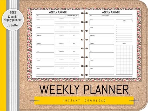 Printable Black /& White Floral Weekly Meal Planner Instant Download Letter Binders U.S For Happy Planner Erin Condren