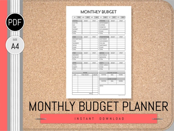 monthly budget planner printable pdf finance planner monthly etsy