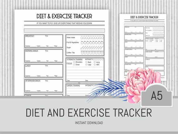 photo about Fitness Planner Printable identify Health planner Printable Diet plan and Fitness Tracker Conditioning Magazine Dinner planner Pounds Reduction Health club Planner Add Immediate Obtain Filofax A5