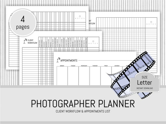 Photographer Planner Printable Client Workflow Appointment
