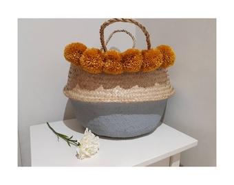 Large Storage basket with 6 x Medium Pom Poms