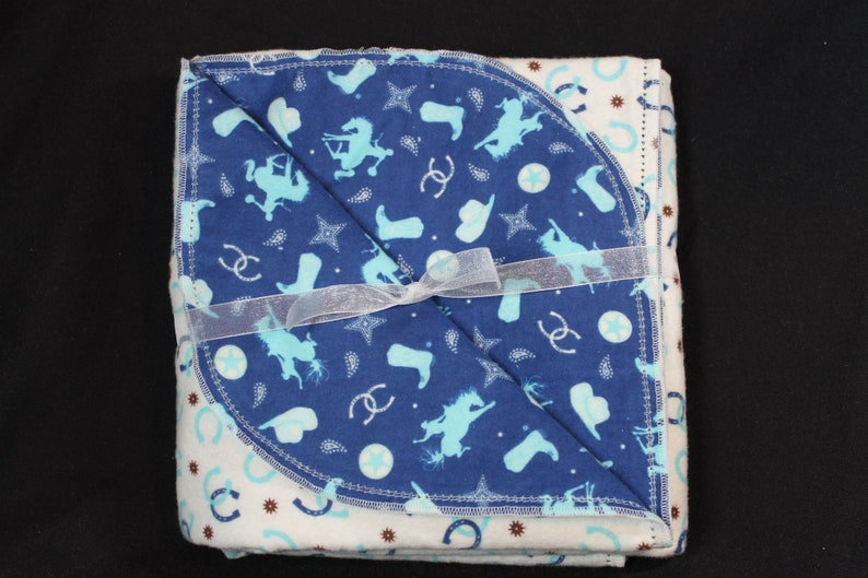 Hemstitched Ride em Cowboy Baby Blanket and 2 Burp Clothes