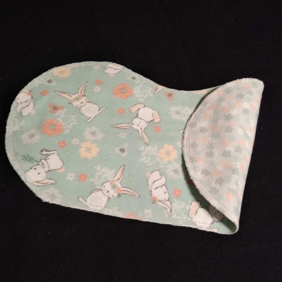 Baby Girl Flowers Flannel Burp Cloth with Crochet Edge Bunnies
