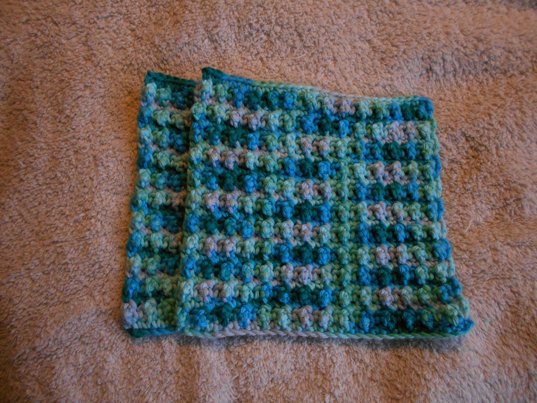Crochet dishcloths wash cloths face cloths set of 2 100% cotton yarn Hobby  Lobby spa cloths baby kitchen bath gift house warming mothers day