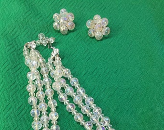 Vintage Lucite Clear Faceted Beads and Earrings Set