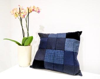 Blue luxury patchwork cushion