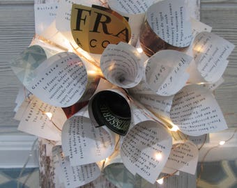 Book wreath on reclaimed with with fairy lights