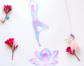 Yoga watercolor set of 2 yoga poses wall art lotus flower yoga watercolor tree pose yoga wall art lotus watercolor painting spiritual living room wall decor lotus flower meditation art zen gifts mightylinksfo