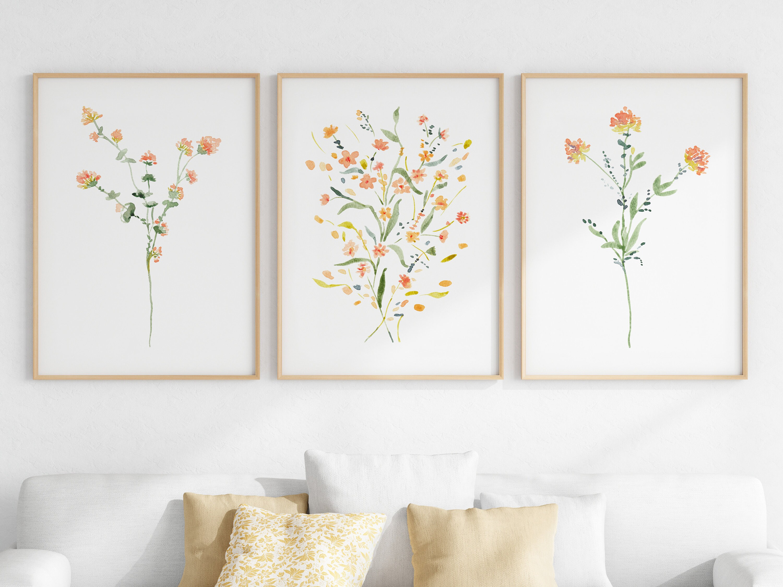 Bohemian Wall Decor Boho Wildflower Art Prints, Bedroom Decor, Modern  Botanical Digital Print Set, Living Room Printable Wall Art