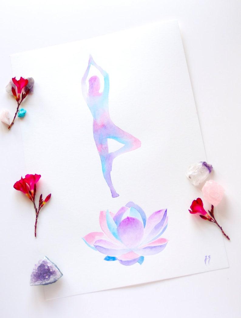 Yoga Watercolor Tree Pose Yoga Wall Art Lotus Watercolor Etsy