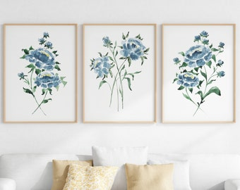 Peony Flower Watercolor Print Set Of 3, Navy Blue Flower Printable Wall Art, Instant Download, Living Room Wall Art, Blue Floral Prints