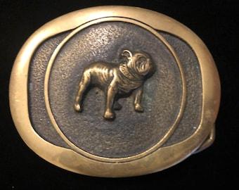 Vintage 1980s Brass Belt  buckle  Keith   Smykal NYC Mac Truck Bulldog