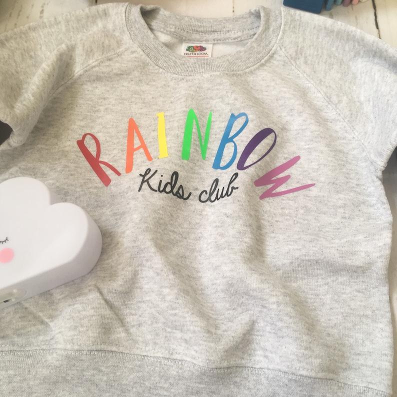 kids jumper birthday gift childs gift rainbow kids Rainbow baby rainbow kids club childs sweatshirt