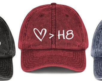 2532569c80615 Love Is Greater Than Hate Hat    Be Kind Choose Kindness Anti-Bullying LGBT  Pride Heart   H8 Good Human Low-Profile Vintage Baseball Dad Cap