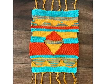 Handmade Teal and Orange Tapestry