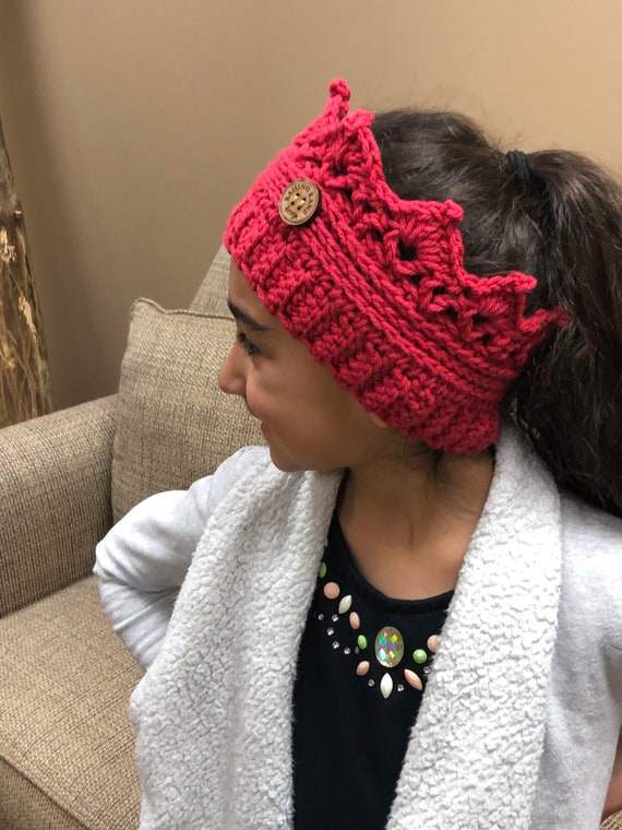 party favor free shipping in US   Crocheted Crown ear warmer for kids handmade gifts princess birthday color choices button accent