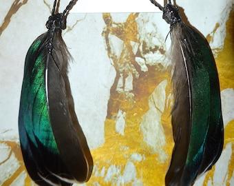 Duck Feather, Raffia & Resin Earrings